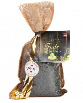 Sacchetto Juta Lenticchia Nera, perla di Norzia - confezione regalo - 400g - Perle della Tuscia