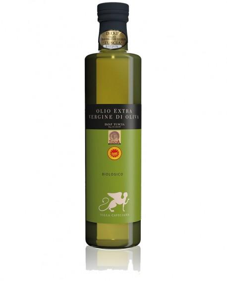 Olio extra vergine d'oliva DOP TUSCIA Biologico varietà CANINESE - bottiglia 500 ml - Olio Tuscia Villa Caviciana