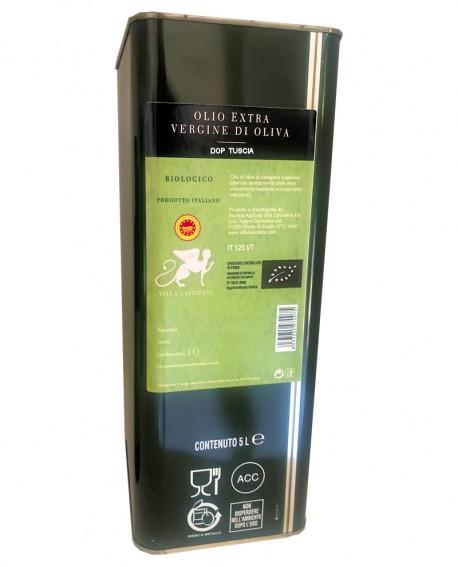 Olio extra vergine d'oliva DOP TUSCIA Biologico varietà CANINESE - Latta 5 lt - Olio Tuscia Villa Caviciana