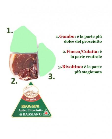 Prosciutto di Bassiano Classico senza osso - trancio FIOCCO 3,5 Kg sottovuoto - stagionatura 15 mesi - Reggiani