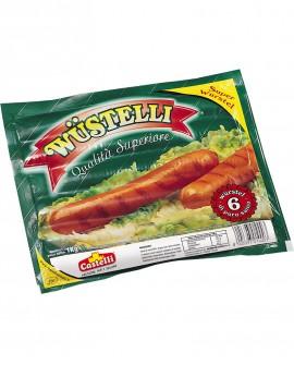 Wustelli Superwurstel puro suino SV 6 Pz. - freschi da 170 g senza pelle - 1 kg - Castelli Salumi