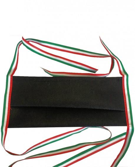 Mascherina nera con nastrino tricolore ITALIA in tessuto TNT doppio strato da 70gr cadauno -100% Pol. idrorepellente traspirante