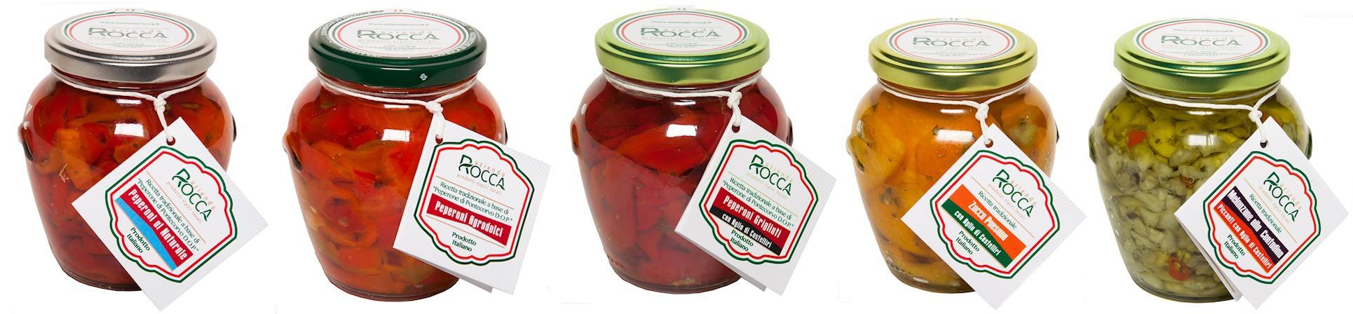 Peperoni in agrodolce di Pontecorvo, peperoni grigliati, zucchine, fagiolini, melanzane, zucca - AZIENDA ROCCA
